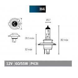 Lampada Halogenio H4  12V 55W